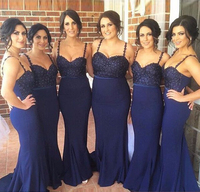 BD22 High Quality Navy Blue Bridesmaid Dresses Satin V Neck Long Bridesmaid Gowns With Beading Spaghetti