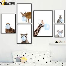 Affiches et imprimés nordiques de girafe, zèbre, Koala, Lions de mer, cerf, raton laveur, peinture sur toile d'art mural, photos murales, décor de chambre d'enfant et de bébé