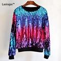 2016 Primavera Outono Mulheres Sweatershirts Hoodies Moda Estilo Colorido de Paetês Lantejoulas Mulher Ocasional Solto Camisolas hoodies