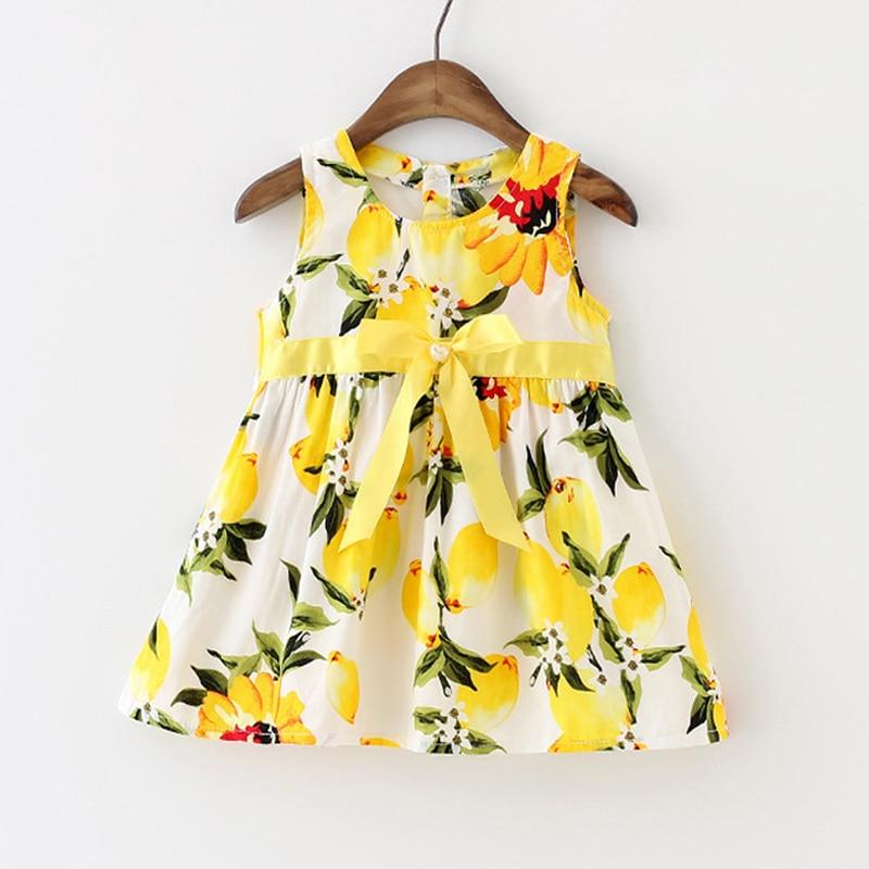952fc06f975 Summer Baby Girl Dress Lemon Infant Dress Toddler Girls Baby Clothing  Sleeveless Baby Dress Floral Sundress