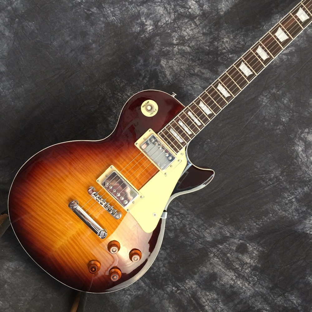 Classic LP 1959   human R9 Tiger Flame les Electric guitar with Chrome hardware, Maple body LP standard guitar,Free shipping partners lp cd