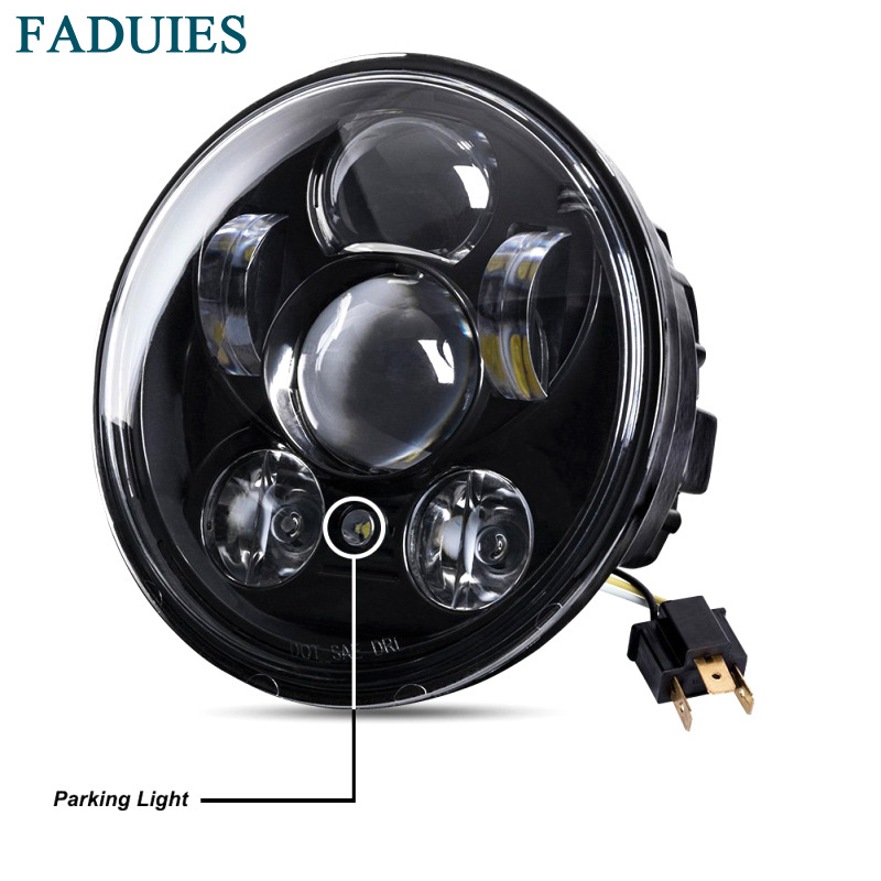 FADUIES 5.75 inch LED Headlamp 5 3/4 inch Daymaker LED For Harley Iron 883 Dyna Street Bob FXDB Sportsters Headlight Kit Black faduies 1 pair 4 5 inch harley motorcycle led headlight high low beam with drl angle eyes for harley fat bob fxdf led headlamp