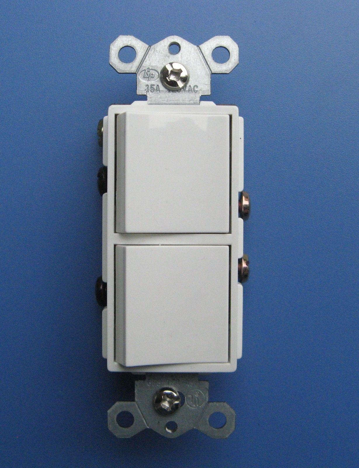 Decora Dual Rocker switch 120V 15Amp Single Pole UL with Wall Plate ...