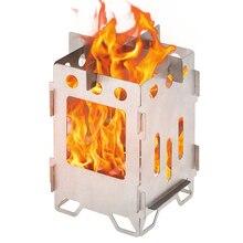 التيتانيوم للطي موقد للتخييم خفيفة في الهواء الطلق حرق الخشب الظهر موقد للطهي التخييم موقد غاز حديدي