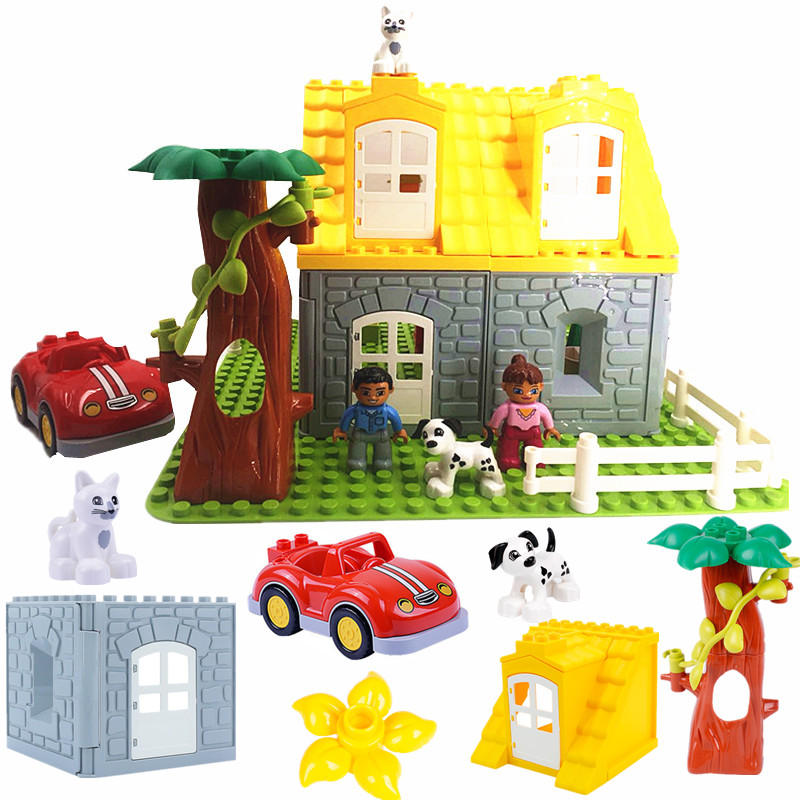 Diy Accessories Building Blocks Play Bricks Castle Roof Door Window Flower Compatible With  Duploed Parts Toys For Children