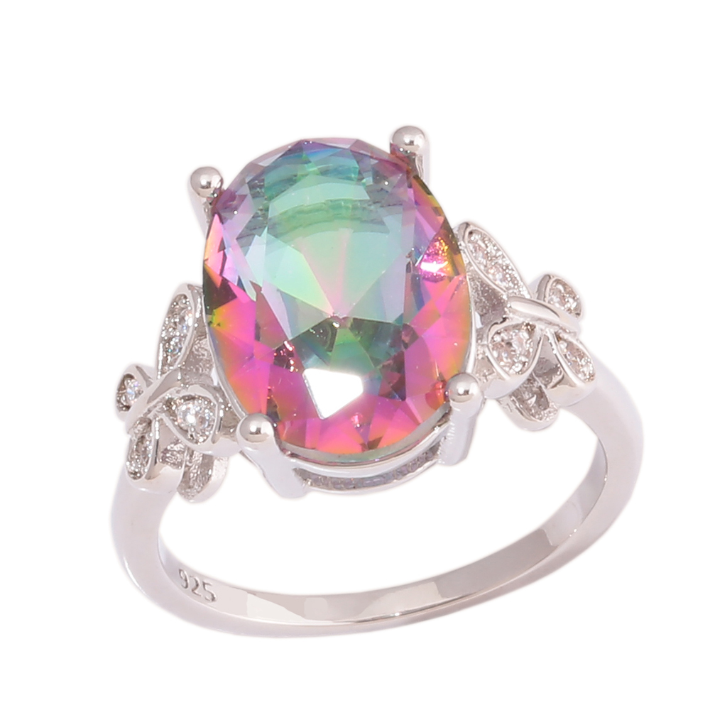 Cinily Zircon Rainbow-Stone Jewelry Ring-Size Wedding-Gift Silver-Plated Women for 6-10