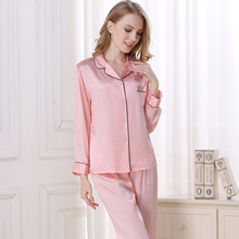 Spring and Autumn Sexy Mulberry silk Long sleeves Two pieces Home service pajamas