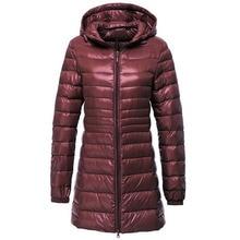 Mulher ultra leve para baixo jaqueta outono inverno quente pato branco para baixo parkas longo com capuz fino casaco leve plus tamanho s ~ 6xl ab497