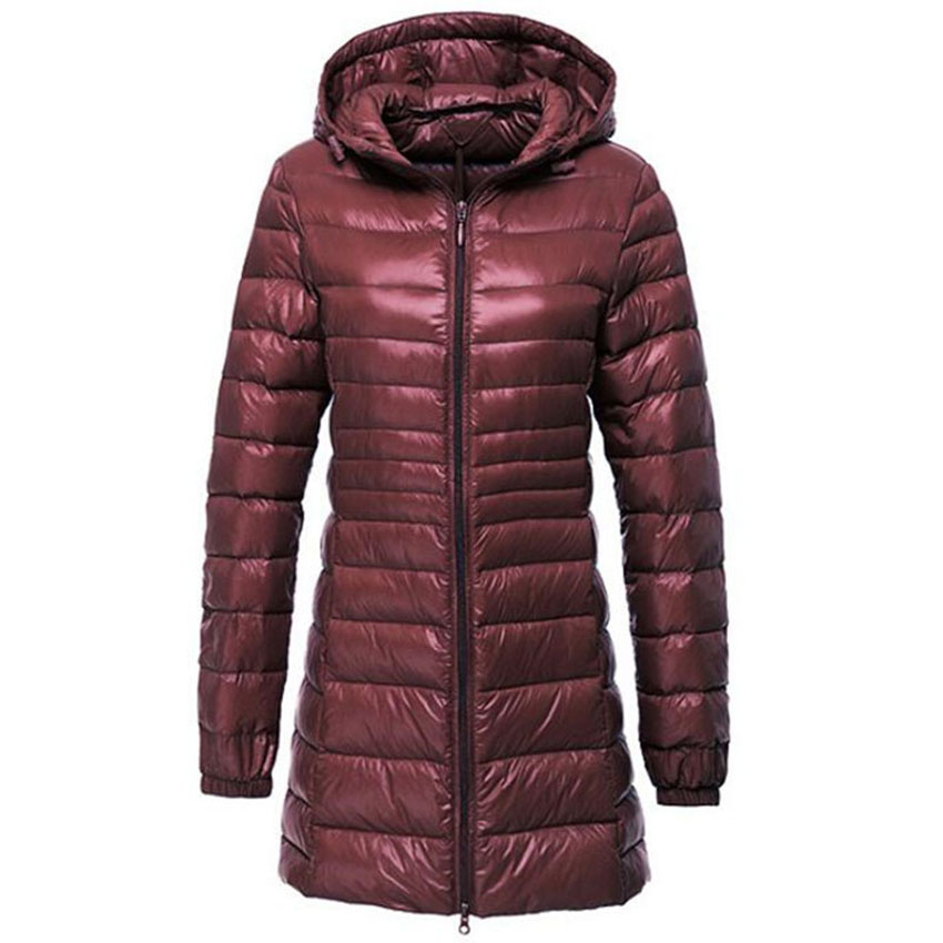 Women Ultra Light Down Jacket Autumn Winter Warm White Duck Down Parkas Long Hooded Thin Lightweight Coat Plus Size S~6XL AB497-in Down Coats from Women's Clothing