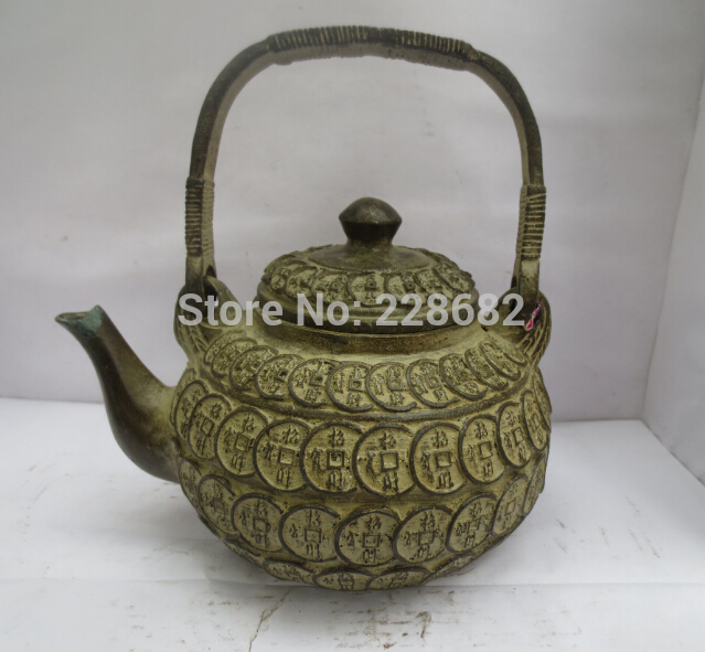 Collectible Chinese old bronze carved money coin teapot /flagon Chinese pot fast Shipping