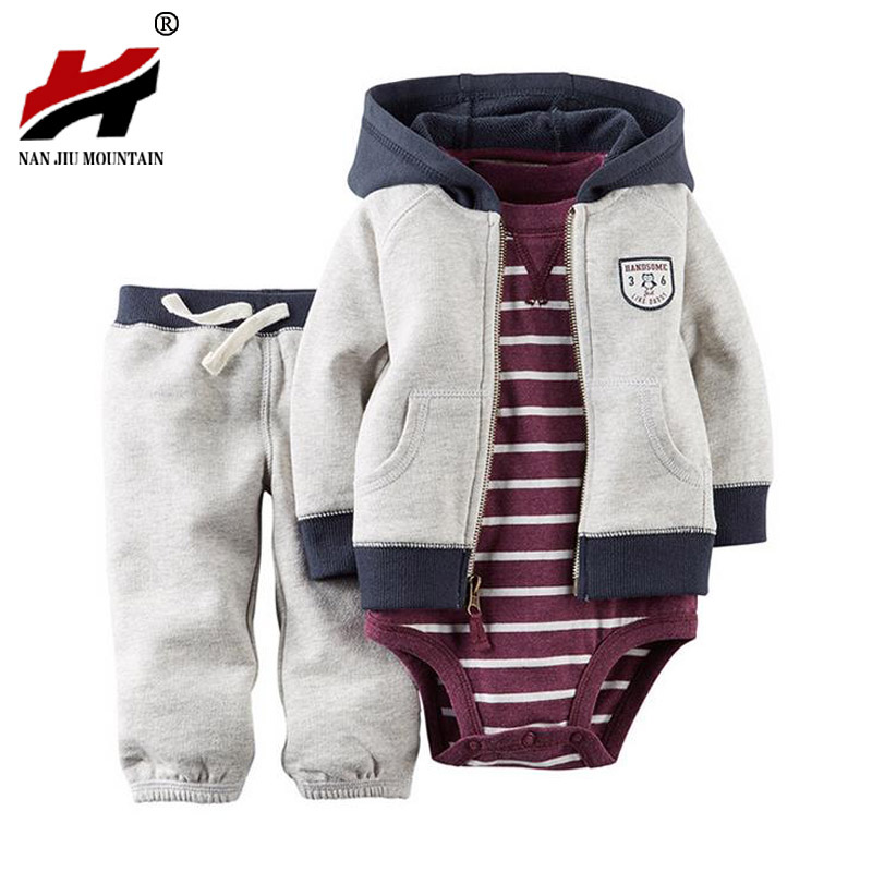 2017 Hot High Quality Baby Bebes Boys Clothes Set Jacket + Romper + Pants Boy Girl Clothing Infant Autumn Spring Children Suits newborn 5pcs lot baby bebes boy girl clothes set infant summer kids romper for boys short sleeve triangle baby