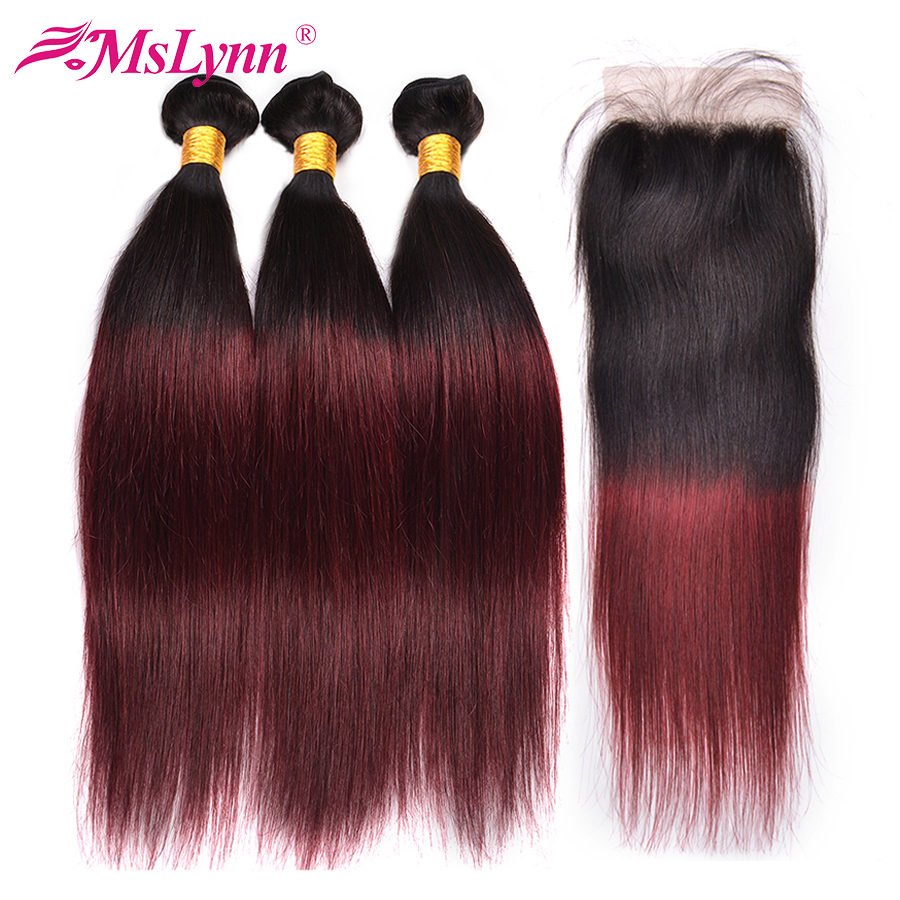 Mslynn 1B 99J Brazilian Straight Hair Bundles With Closure Human Hair Bundles With Closure Ombre Bundles