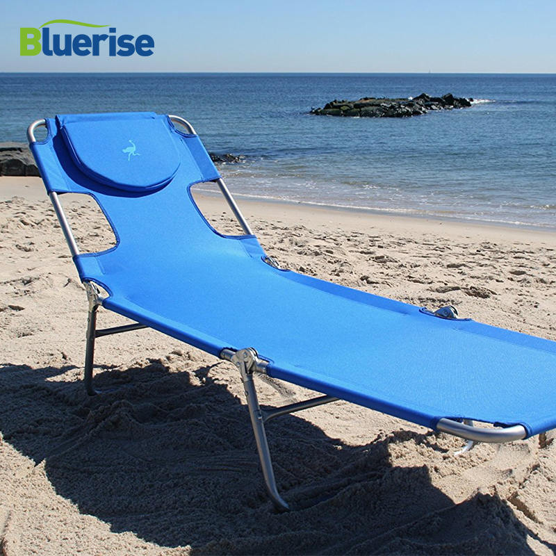 BLUERISE Chaise Lounge Folding Beach Chair Outdoor Furniture Three Positions Sun Lounger Recline or Lay Flat Tanning Massage цена