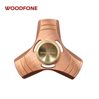 Hand Spinner WOODFONE Toy Red Copper Metal Tri Fidget Spinner ADHD Focus Tri Spinner To Relieves