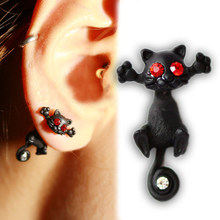 hot Fashion 1pc Womens Mens Unisex 2.2*1.7cm Ear Stud Lovely Animal Cute Cat White Red Rhinestone inlay Piercing Studed Earring(China)