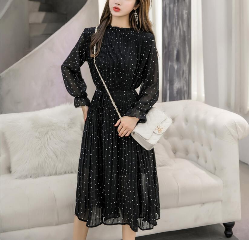 Printemps automne dame longue robe en mousseline de soie nouvelle mode coréenne femmes à manches longues à pois robes plissées noir Vintage vêtements