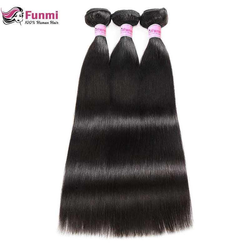 Raw Indian Straight Hair Bundles Unprocessed Indian Virgin Hair Bundles 100% Human Hair Extensions 1/3/4 Bundles Funmi Hair