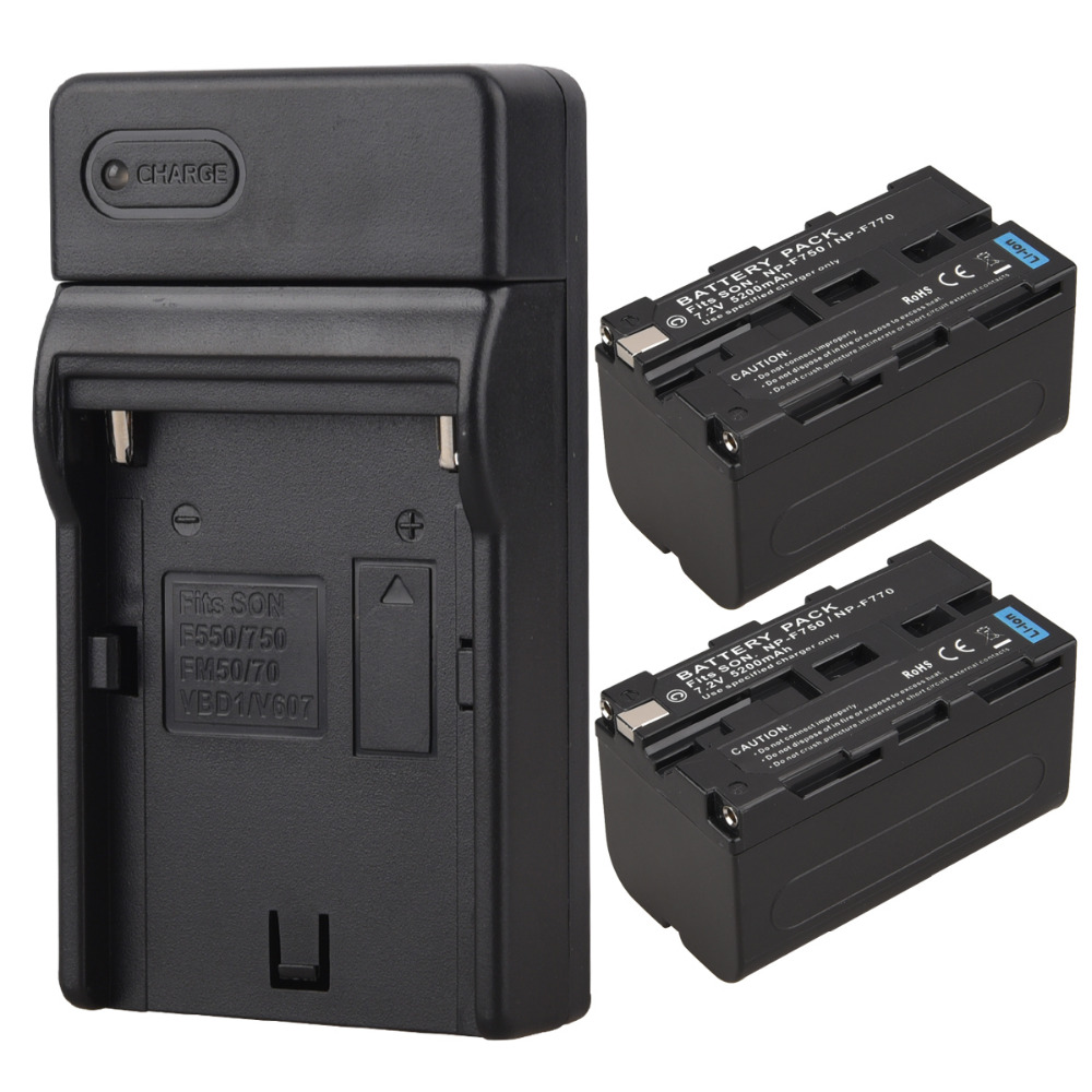 2x 5200mAh NP F770 F750 Video Camera Digital Battery+Charger for Sony NP-F750 NP-F770 Rechargeable Replacement Batteries Bateria np f960 f970 6600mah battery for np f930 f950 f330 f550 f570 f750 f770 sony camera