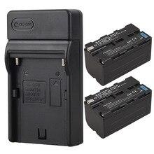 2×5200 mAh NP F770 F750 Câmera de Vídeo Digital Bateria + Carregador para Sony NP-F750 NP-F770 Baterias Recarregáveis de Substituição Bateria