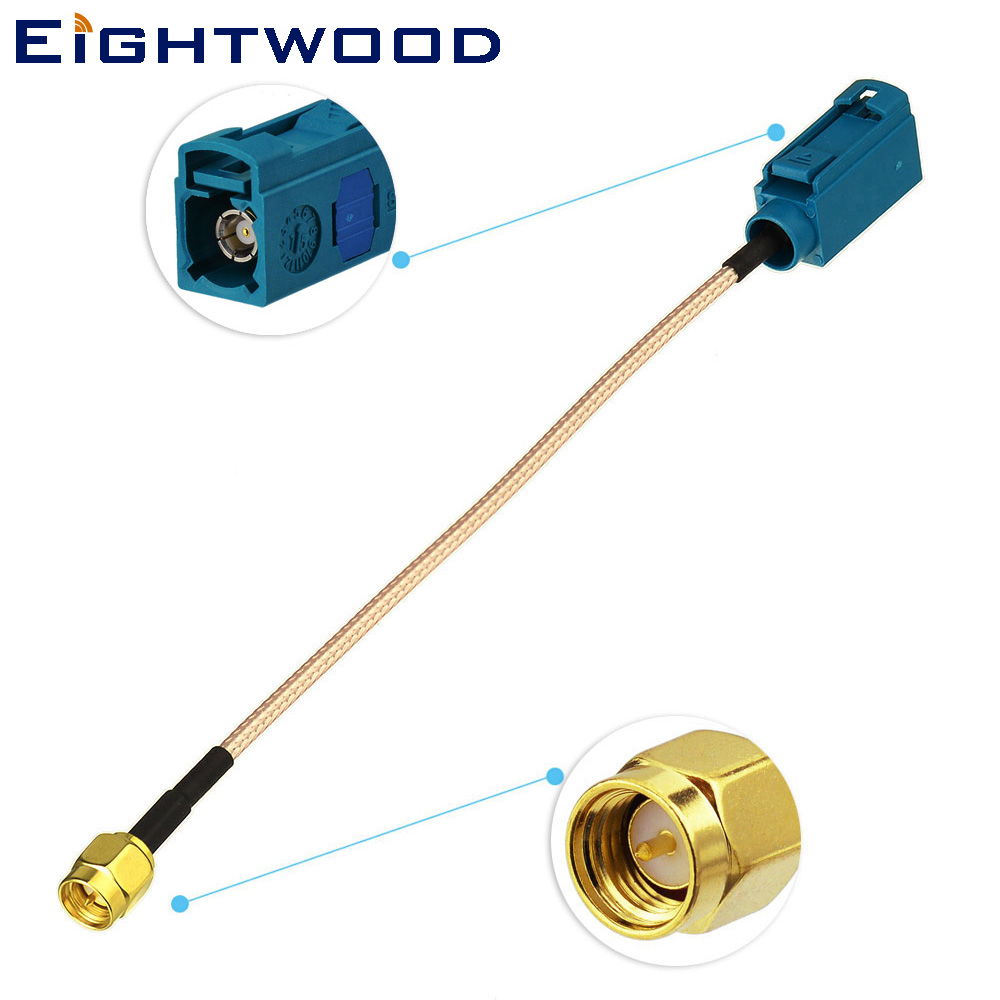 Eightwood Car <font><b>GPS</b></font> Radio Aerial DAB <font><b>Adapter</b></font> Antenna <font><b>Adapter</b></font> Cable <font><b>Fakra</b></font> Z Jack Female to SMA Plug Male Pigtail Cable RG316 15cm image