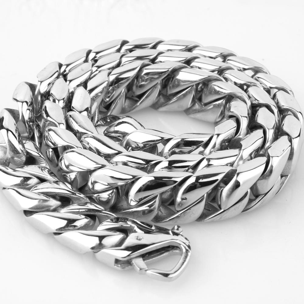 News Arrival 15mm Polished Silver Stainless Steel Miami Curb Cuban Chain Necklaces Casting Lock Clasp Mens Link jewelry 7 40 quot in Chain Necklaces from Jewelry amp Accessories