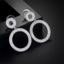Luxury Round Circle Micro Cubic Zirconia Pave Women Wedding Bridal Party Engagement Earrings Jewelry Party Gift(China)