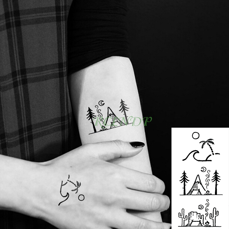 0324e7f80 Waterproof Temporary Tattoo Sticker coconut tree cactus Hill Fake Tatto  Flash Tatoo Tatouage Wrist Foot Hand