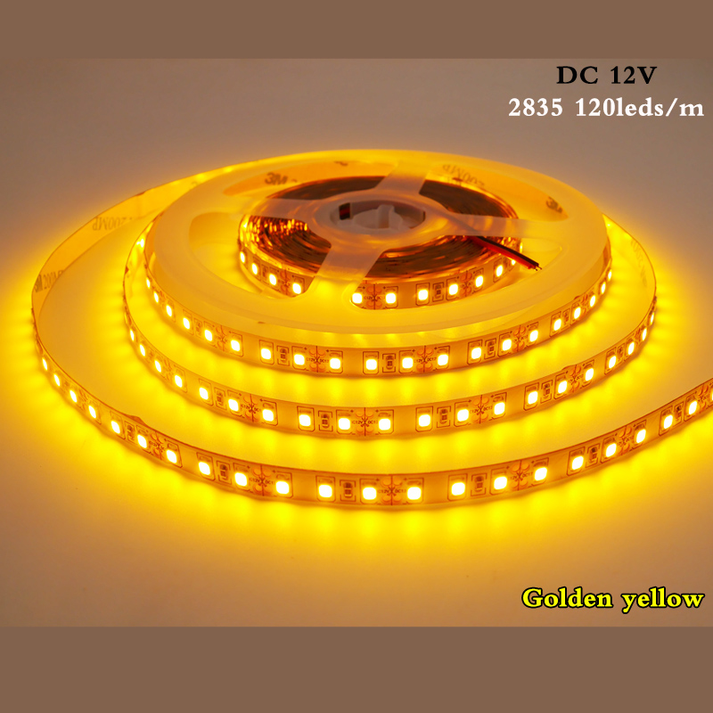 Flexible LED Strip 5M 2835 SMD DC12V 120 Leds/m NO-Waterproof IP20 White,Warm White,Ice Blue,Golden Yellow,Pink,Green,Red,blue