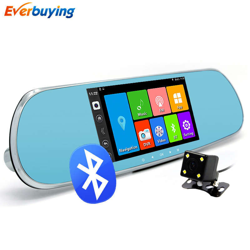 5 Car DVR Camera mirror Android 4 4 Bluetooth Rearview Mirror Video Recorder Dual Lens FHD