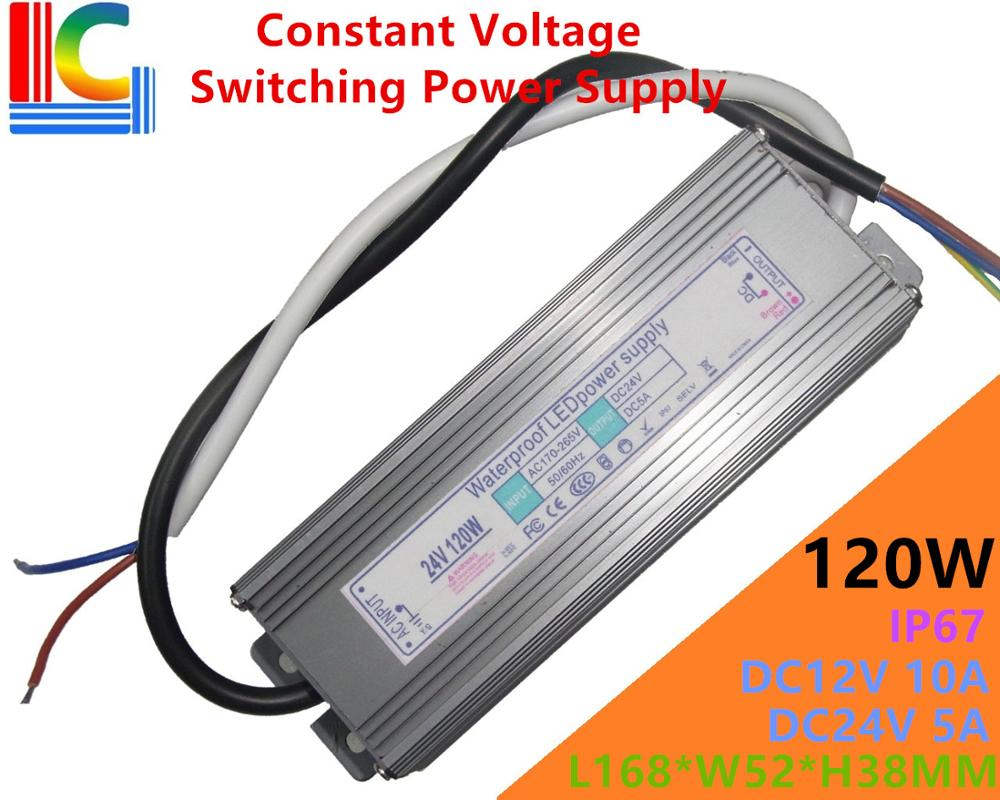 120W Constant Voltage Switching Power Supply 12V 24V IP67 Waterproof LED Driver Adapter 10A 5A Lighting Transformer 110V 220V CE kvp 24200 td 24v 200w triac dimmable constant voltage led driver ac90 130v ac170 265v input