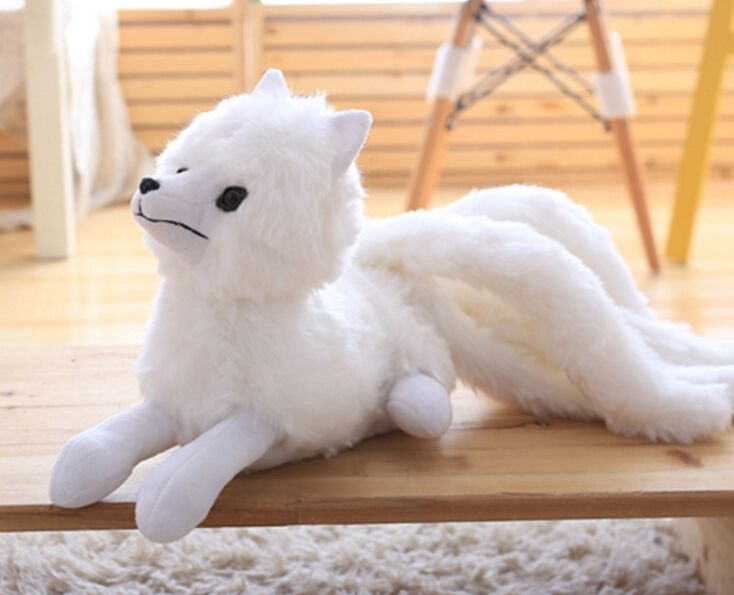 cute plush white fox toy stuffed nine-tail fox doll gift about 56x26cm middle lovely plush high quality seal toy cute white seal doll gift about 35cm