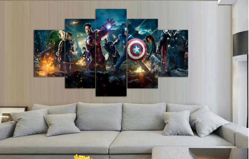 Framed Printed The Avengers 5 Piece Painting Wall Art