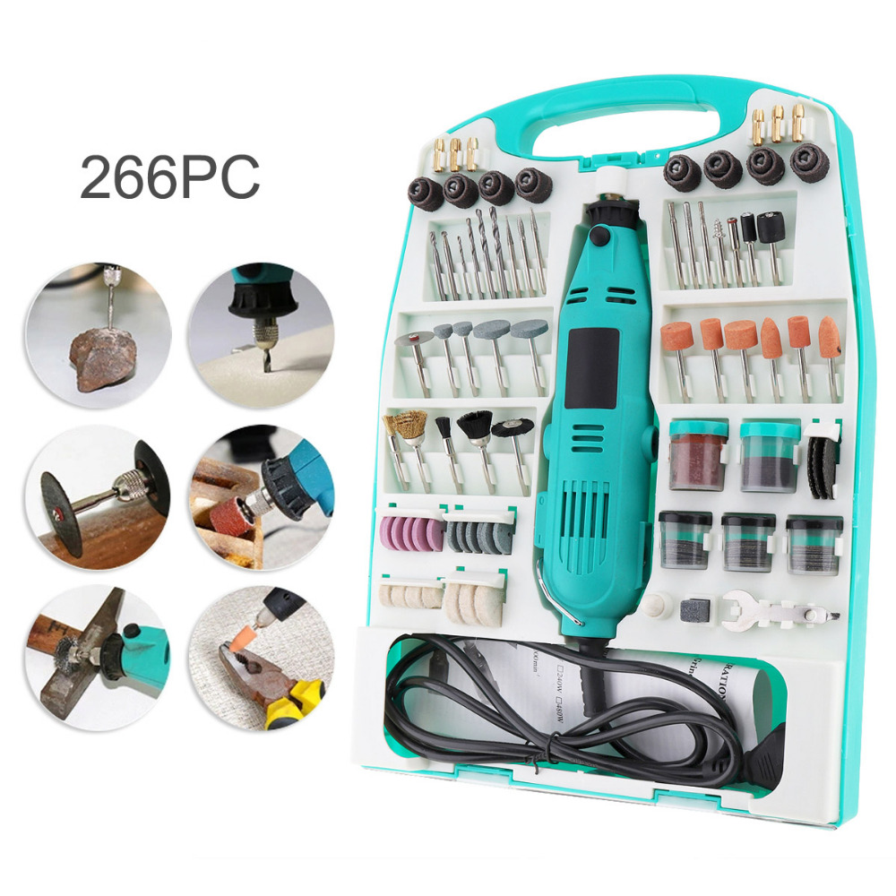 226pcs/set 220V Electric Grinding Machine Combination Tool with Plastic Box and Long Straight Handle for Polished vibration type pneumatic sanding machine rectangle grinding machine sand vibration machine polishing machine 70x100mm