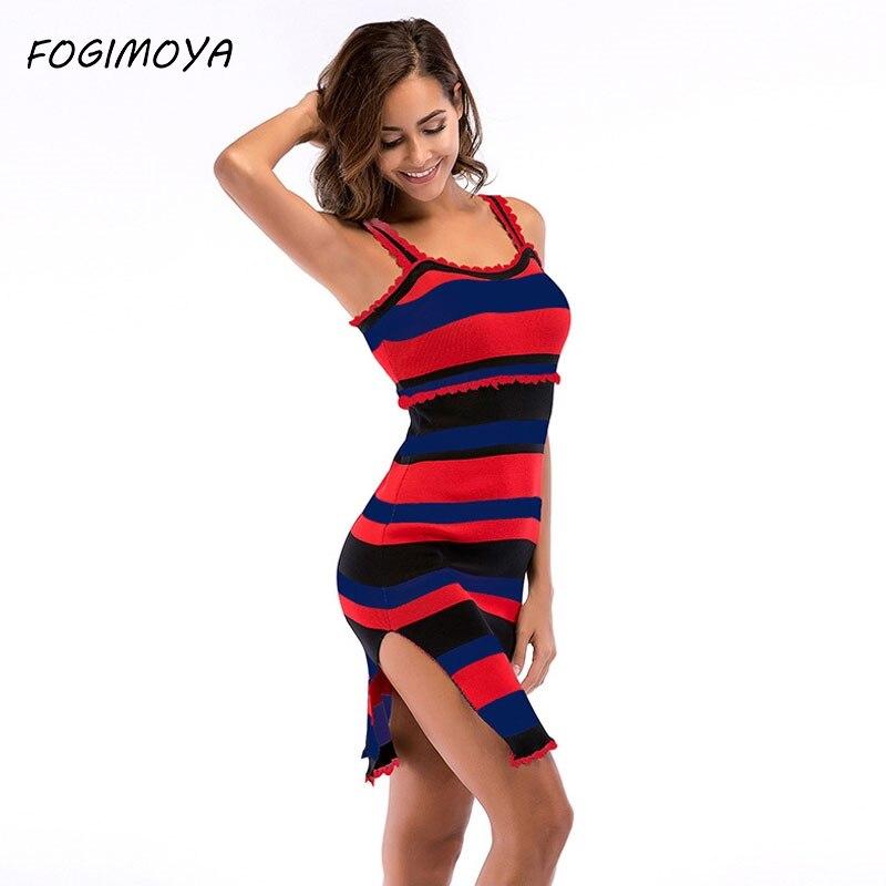 FOGIMOYA Dress Women Summer Striped Kniiting Strap Dress 2018 Women's Sexy Off The Shoulder Strap Dresses Mini Bodycon Dresses
