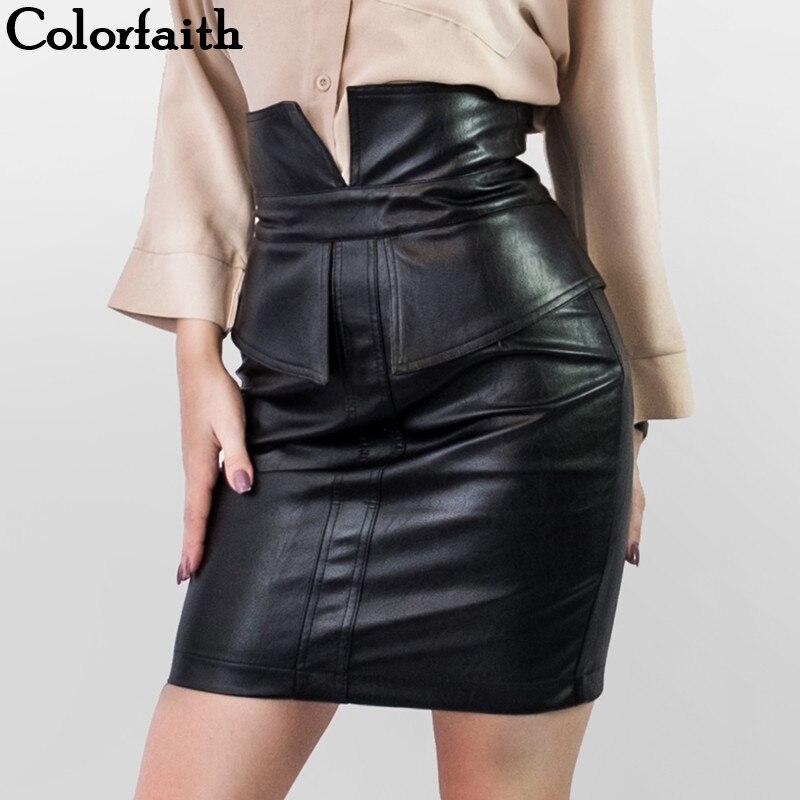 Colorfaith New 2019 Women Pu Leather Skirt Autumn Winter Pencil Patchwork Ladies Fashion Package Hip Slit Mini Skirt Sk9253