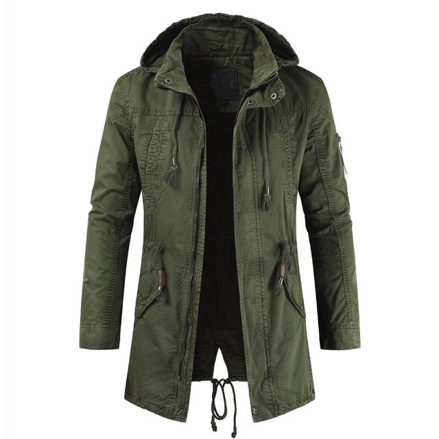 Men school to overcome the 2019 spring new men's European and American military travel casual jacket in the long coat Plus size