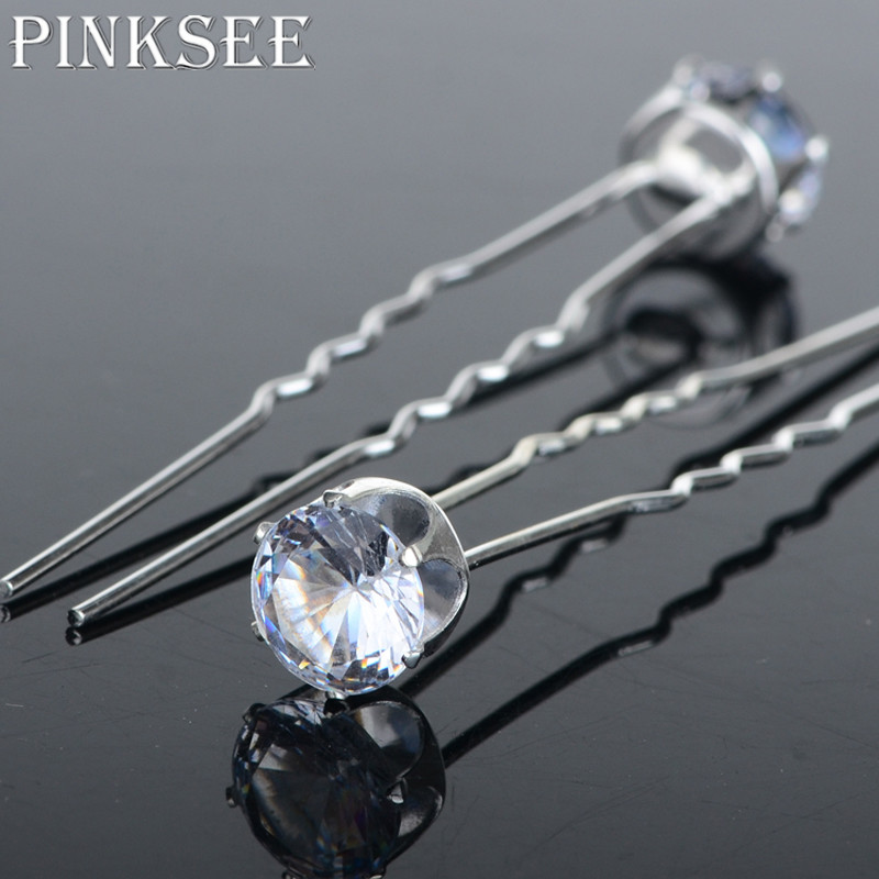 PINKSEE 20PCS Round Crystal Rhinestone Hair Pins Wedding Bridal Accessories  Hair Clip For Women Jewelry Gift Wholesale-in Hair Jewelry from Jewelry ... 79b3622950d5