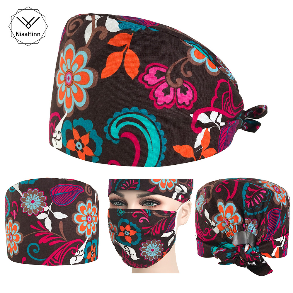 Flower Printed Nurse Doctor Pharmacy Hats Adjustable Practical Medical Surgical Surgery Cap Beauty Salon Dental Clinic Work Cap