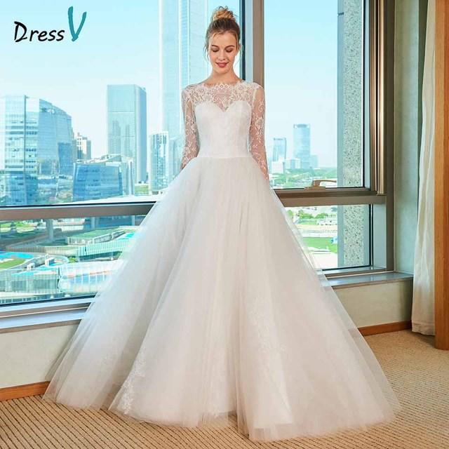 Dressv elegant scoop neck wedding dress a line lace appliques long ...