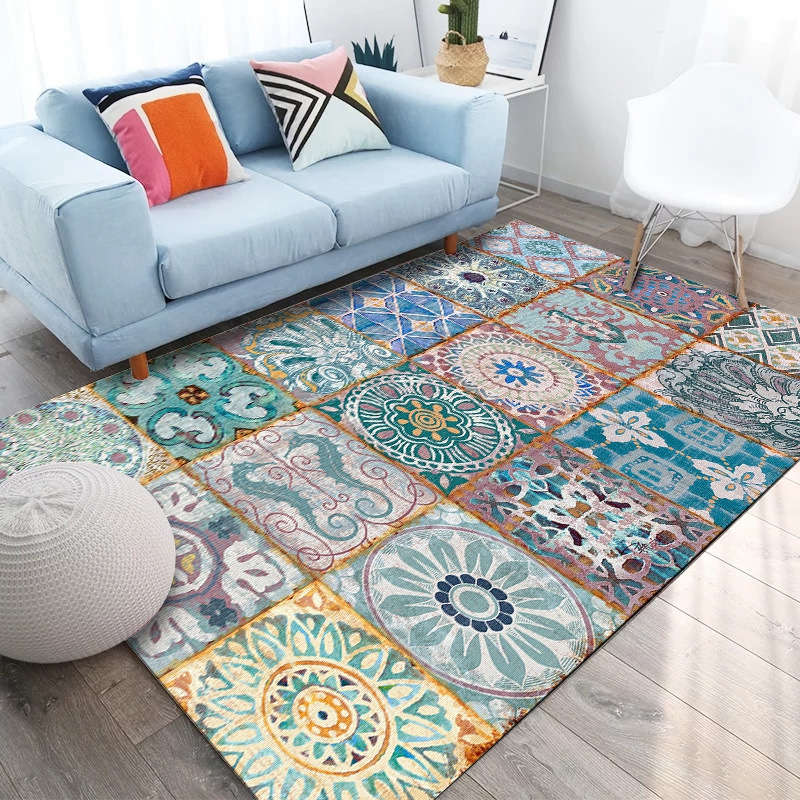 Bohemian Style Flower Geometric Large Rugs And Carpets Living Room Floor Mat Coffee Table Sofa Bedroom Blanket Bedside Area Rugs