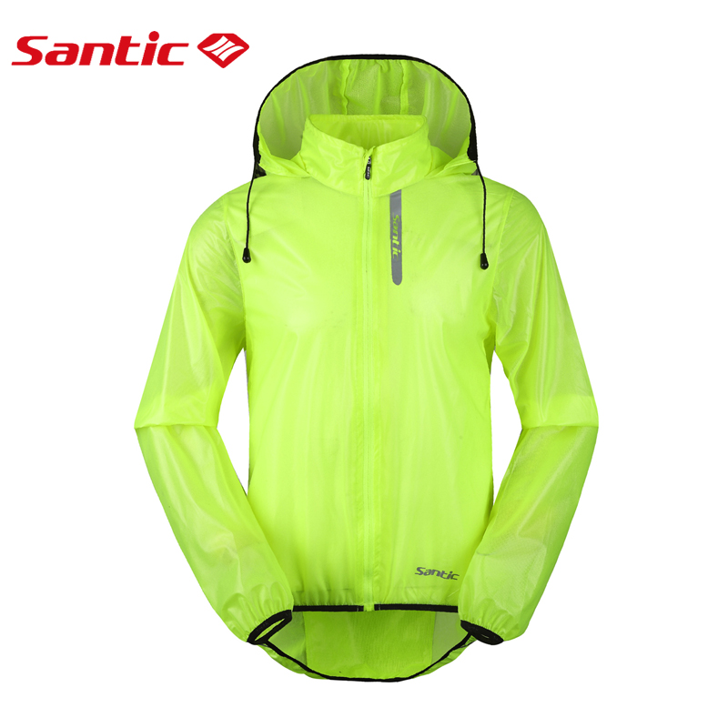 Santic Mens Cycling Rain Coat Jersey Bicycle Windproof Jacket Waterproof Skin Coat Green UV Proof quick-drying breathable cloth