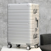 100 aluminum travel suitcase TAS LOCK spinner business rolling luggage trolley case on wheel