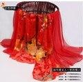 Moda Oro Rojo Flores 100% Bufanda de Seda Del Mantón 180*85 cm Mujeres Bufanda de Seda Larga de seda Natural de gasa Estampada invierno, Otoño