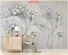 beibehang Custom size simple small fresh hand-painted oil painting cherry Nordic style TV sofa background wall wallpaper