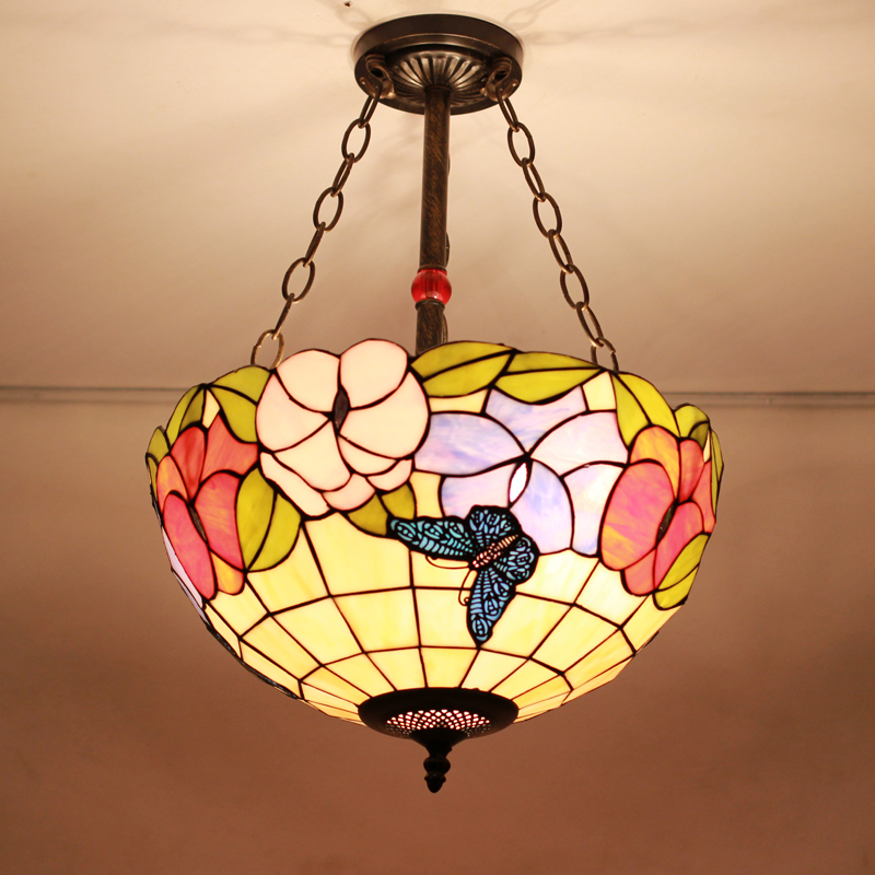 12 Inch Flesh Country Flowers butterfly Tiffany pendant light Stained Glass Lamp for Bedroom E27 110-240V