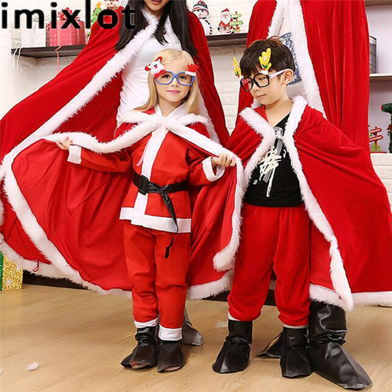 Imixlot Chirtmas Cosplay The Santa Claus Mantle Red Velvet Cape Santa Father Cloak Princess Christmas Costume Одежда