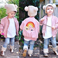 Mini Rainbow Star Pattern Flight Jacket Baby Winter Jacket Coat Boys Girls Parka Kids Zipper Inner Is Cotton Children Clothing