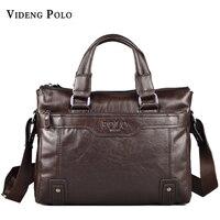 New Men Brand POLO Large Genuine Leather Bags Mens Handbag High Quality Casual Business Man Bag