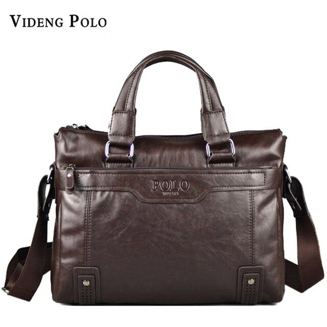 Videng Polo Men Bag New Brand Leather Handbag High Quality Casual Business Briefcase Laptop Crossbody Shoulder