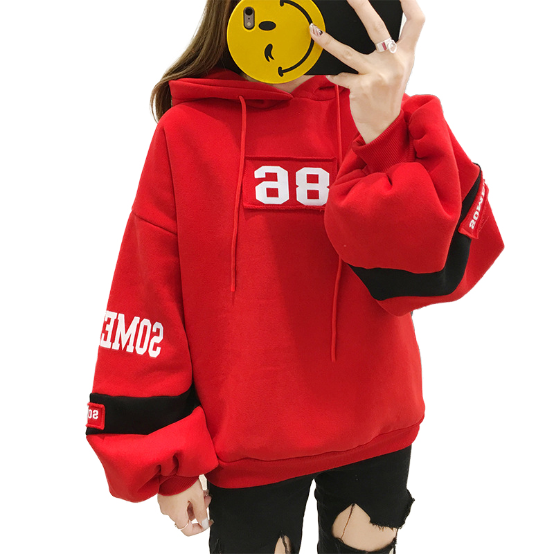 Blouse Hooded-Sweatshirt Velvet Korean Women's Stitching Loose Printing Autumn Winter